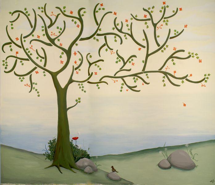 Peinture murale cig aulnoy lez valenciennes poupiland for Decoration murale arbre de vie
